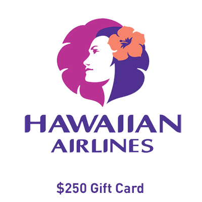 HAWAIIAN AIRLINES<sup>&reg;</sup> - This airline offers extraordinary service from booking to flying on flights to Hawaii and Asia. Redeem this Hawaiian Airlines<sup>&reg;</sup> gift card for $250 towards your travel plans.