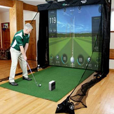 SKYTRAK™ Platinum Golf Simulator Package - Create a home golf experience you and your family and friends will enjoy, rain or shine.  This package includes the Net Return Simulator series golf net and screen, Net Return Projector mount kit, Net Return Pro Turf golf mat, Basic Practice Range package software and Short Throw projector.  SkyTrak™ connects wirelessly to your iPad or PC.  Frame is 8'10